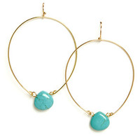 Stone Age Turquoise and Gold Hoop Earrings