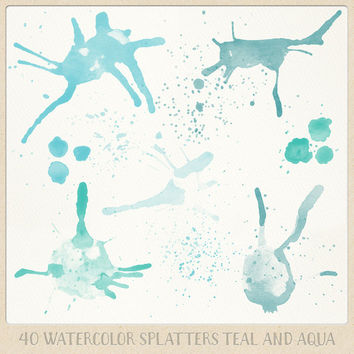 Watercolor clipart splatter splashes (40) mint teal aqua blue turquoise. hand painted overlays logo design blogs cards printables wall art
