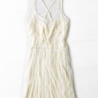 AEO Women's Beaded Tulle Slip Dress (Cream)