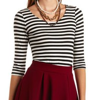 Striped Crop Top by Charlotte Russe - Black Combo