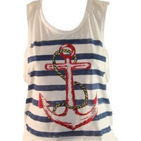 White Tank Top with Pink Stripes and Multi Colored Sequined Anchor (Small)