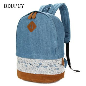DDUP 2017 New Fashion Floral Lace +Denim Canvas Women Bag Backpack For Teenagers Women Back Pack Schoolbag Bagpack