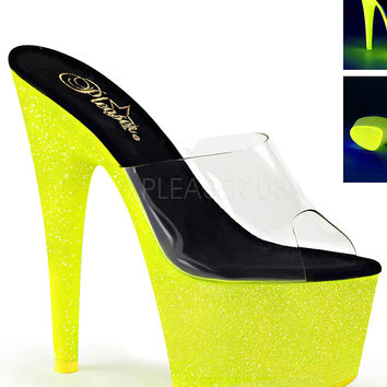 Neon Yellow Slide Sandle With 7 Inch Heels-Rave Shoes
