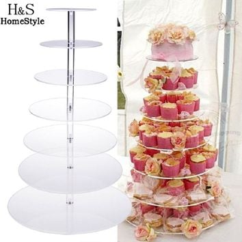 Big Size 7 Tier Crystal Clear Circle Acrylic Round Cupcake Stand for Wedding Party Cake Display Decoration