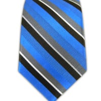 Cornell Stripe - Royal Blue/Gray (Skinny) from TheTieBar.com - Wear Your Good Tie Everyday
