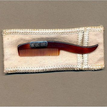 Vintage Faux Tortoise Shell & Sterling Mustache Comb from greatvintagestuff on Ruby Lane