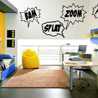 Wall Decal Bam Zoom Pow Splat Set of Four by CuttinUpCustomDieCut