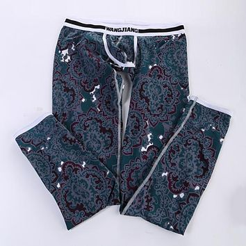 Cheap&High Quality Men's Soft Long Johns Pants Thermal Pants Cotton Pattern Printed Underwear S-XL