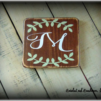 Initial Sign, Monogram Plaque, Personalized Sign, Last Name Sign, Rustic Home Decor, Gallery Wall,Calligraphy Sign,Wooden Sign,Custom Plaque