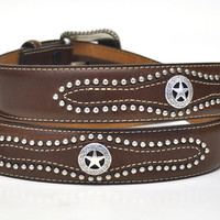 Nocona Men's Western Star Concho Leather Belt Brown