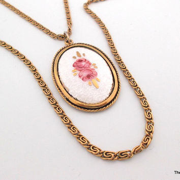 Vintage Goldette NY double strand guilloche enamel painted cabbage rose flower pendant necklace
