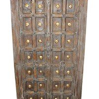 Mogul Interior Antique Old Door Wardrobe Distressed Gray Armoire Storage Earthing Furniture