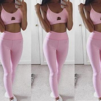 Pink High Waisted Athleisure Outfit (2 piece/set)