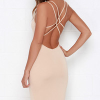 Jersey Girl Beige Backless Midi Dress