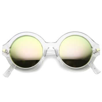 Women's Bold Round Crystal Frame Mirror Lens Sunglasses 9853