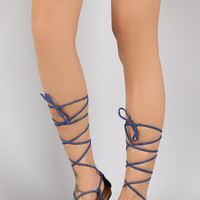 Denim Strappy Lace Up Gladiator Flat Sandal