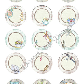 SERENE -  1.0 inch Circles - Collage Sheet Art for Editable, Bottle Caps, Jewelry, Arts and Crafts dc107 - Instant Download