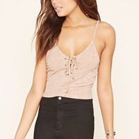 Ribbed Knit Lace-Up Cami