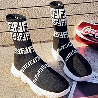 Fendi Fashion New More Letter Print Women Sock Shoes Black