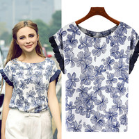 Blue Floral Print Pleated Muscle Blouse