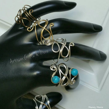Statement rings. Silver infinity wire wrapped rings. Bff rings. Turquoise ring, handmade rings, made in Canada, epsteam, gifts, personalized