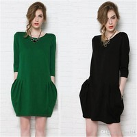 New Fashion casual dress half sleeve cotton dresses For Women Dress Summer Dress Party Dresses BB033