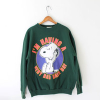 "XLARGE Vintage 70s/80s Snoopy Peanuts ""I'm Having a Very Bad Hair Day"" Pullover Graphic Sweatshirt"