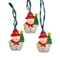 Snowman with Tree Set of 10 String Lights