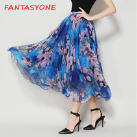 FANTASYONE 2017 Summer Skirt Fashion Vintage Bohemia Chiffon Skirt Floral Printed Women Boho Long Skirt Party Maxi Beach Skirt