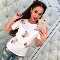 Floral Short Sleeve Tops Summer Style Embroidery Women's Fashion T-shirts [11735841487]