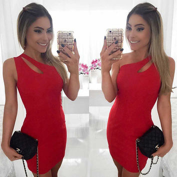 Fashion Hollow Sleeveless Single Shoulder Irregular Pack-hip Tight Mini Dress
