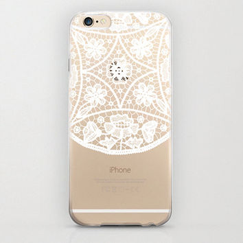 Hippie Mandala iPhone 6 Case Plastic Cover Apple iPhone 6 Protector Bohemian Indian Floral Pattern Flower Print Trendy White Transparent