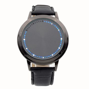 Fashion Touch Screen LED Watches For Womens Mens Lovers Leather Band Quartz Wristwatch Tree Shaped Dial Blue Light Display Time