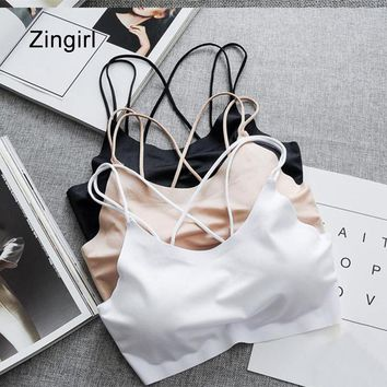Zingirl Casual Slim Soft Ice Silk Basic Bra Bralette Women Wireless Brief Tub Brassiere Summer Strap Padded Intimate Lingerie
