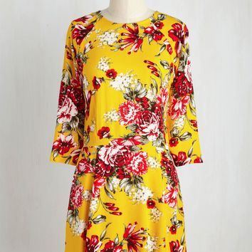 Isle Check It Out Dress in Yellow Floral | Mod Retro Vintage Dresses | ModCloth.com