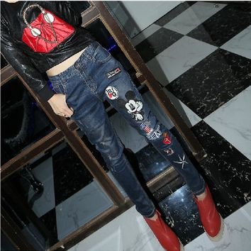 2016 New jeans Women high waist dark Blue Pocket Mickey jeans Pants Collapse Trousers