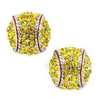 Sport Softball Crystal Rhinestone 14mm Drop Stud Fashion Earrings Silver Yellow: Jewelry
