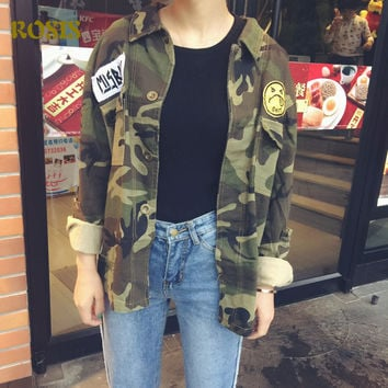 New Fashion Boyfriend Style Camouflage Military Jacket Women Denim Camo Jackets jaqueta feminina Appliques Army Green Coats 1161