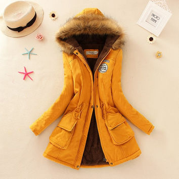Hooded Military Coat with Faux Fur Lining