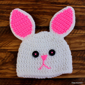 Crochet White Infant Girl Bunny Set - Hat, Diaper Cover, Booties - Size 0-3 months