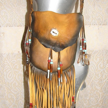 "Artisan Made Leather Medicine Bag Fringed Distressed Deerskin Crossover Purse Fringe Beads ""NAVAJO MEDICINE BAG"" Handmade by Debbie Leather"