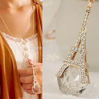 Paris Eiffel Tower Crystal Rhinestone Ball Pendant Long Chain Sweater Necklace  FREE JUST PAY SHIPPING