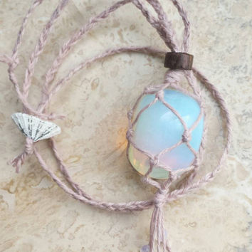 Opalite Hemp Wrapped Rear View Mirror Charm // Crystal ball chakra yoga moonstone necklace // Healing Stone Macrame opal car mirror decor