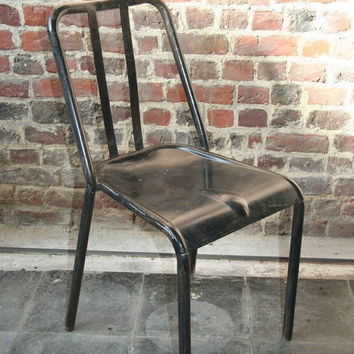 Retro metal chair - model VIEUX LILLE - BLACK distressed look