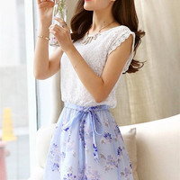 Sheer Boat Neck Lace Top Floral Tie-Waist Chiffon Skirt Set