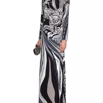 2016 spring Luxury Brands Jersey Silk Long Dress Women's Vintage Blue Baroque Print Spandex Stretchable Signature Maxi Dress