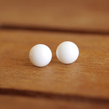 White Czech Glass Round Stud Earrings 9mm, simple white post earring, white stud, small round earrings, spring summer jewelry