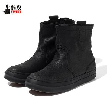 Hight Quality Genuine Leather Mens Mid-calf Snow Boots Pull On Super Warm Plush Winter Boots Man Thick Heel Cotton Shoes