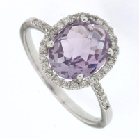 2.35 cttw  Amethyst And Diamond Halo Ring In 14K Gold