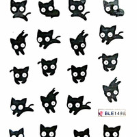 Black Cat Nail Decals - Nail Art With Cute Black Cat - Nail Stickers